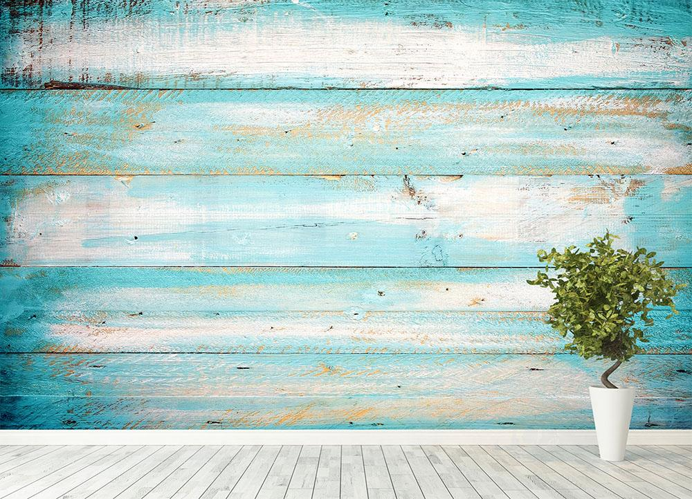 Vintage Beach Wood Wall Mural Wallpaper Canvas Art Rocks