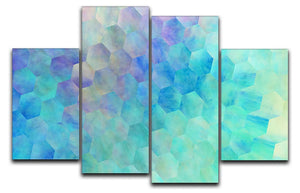 Violet and Blue Hexagons 4 Split Panel Canvas - Canvas Art Rocks - 1