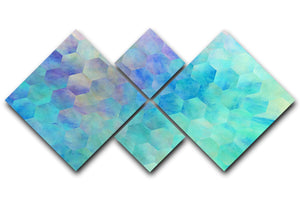 Violet and Blue Hexagons 4 Square Multi Panel Canvas - Canvas Art Rocks - 1