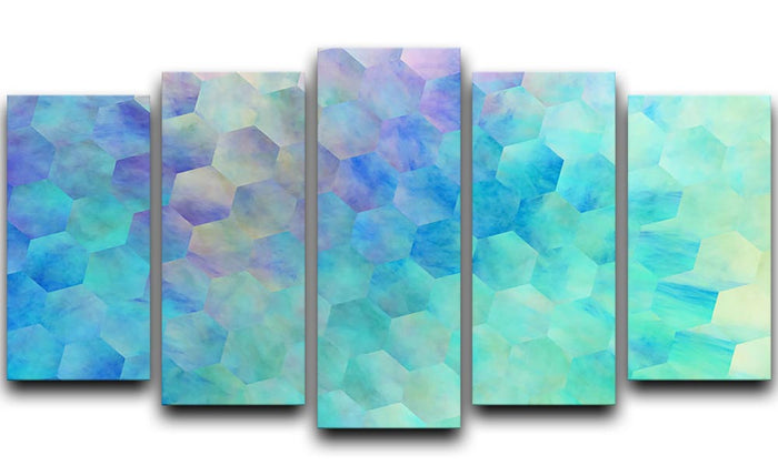 Violet and Blue Hexagons 5 Split Panel Canvas