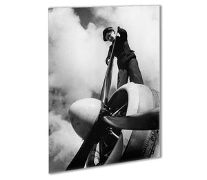 WW2 Oiling the propeller blade Outdoor Metal Print - Canvas Art Rocks - 1