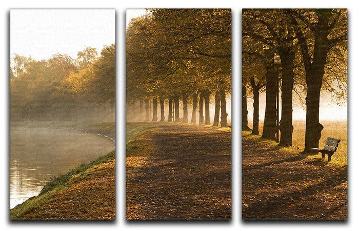 Walkway at the canal in morning 3 Split Panel Canvas Print