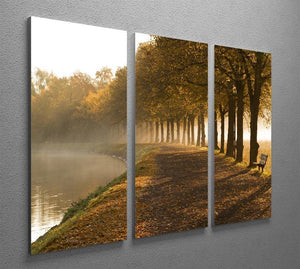 Walkway at the canal in morning 3 Split Panel Canvas Print - Canvas Art Rocks - 2