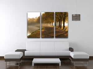 Walkway at the canal in morning 3 Split Panel Canvas Print - Canvas Art Rocks - 3