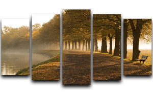 Walkway at the canal in morning 5 Split Panel Canvas  - Canvas Art Rocks - 1