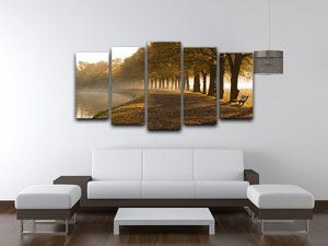 Walkway at the canal in morning 5 Split Panel Canvas  - Canvas Art Rocks - 3
