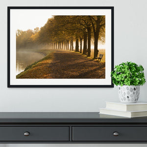 Walkway at the canal in morning Framed Print - Canvas Art Rocks - 1