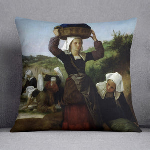 Washerwomen of Fouesnant By Bouguereau Cushion