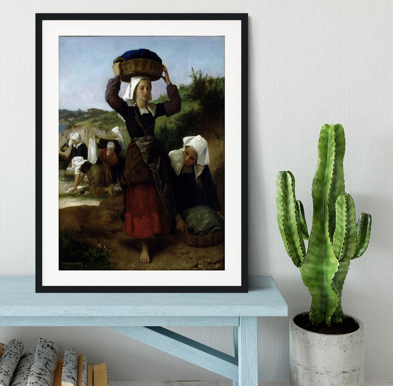 Washerwomen of Fouesnant By Bouguereau Framed Print - Canvas Art Rocks - 1