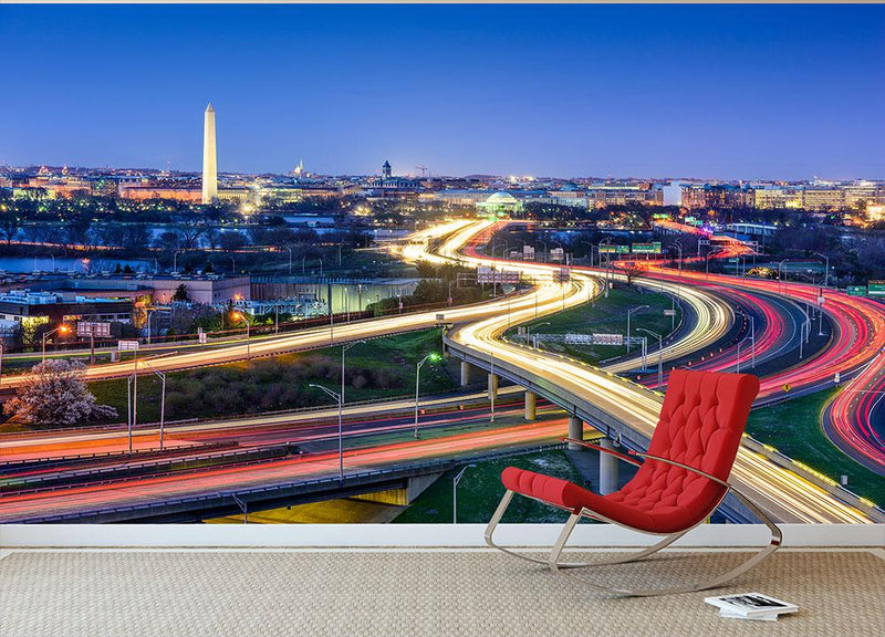 Washington DC skyline with highways Wall Mural Wallpaper - Canvas Art Rocks - 1