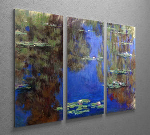 Water Lilies 6 By Manet 3 Split Panel Canvas Print - Canvas Art Rocks - 2