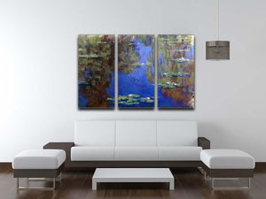 Water Lilies 6 By Manet 3 Split Panel Canvas Print - Canvas Art Rocks - 3