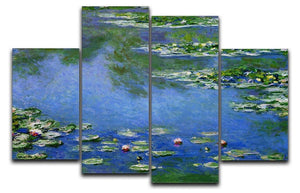 Water Lilies by Monet 4 Split Panel Canvas  - Canvas Art Rocks - 1