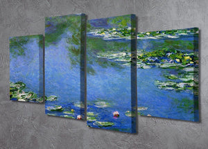 Water Lilies by Monet 4 Split Panel Canvas - Canvas Art Rocks - 2