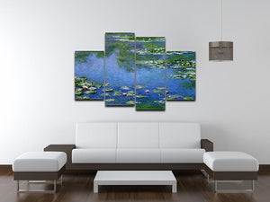 Water Lilies by Monet 4 Split Panel Canvas - Canvas Art Rocks - 3