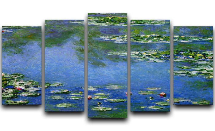 Water Lilies by Monet 5 Split Panel Canvas