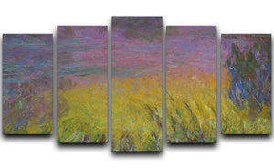 Water Lillies 12 by Monet 5 Split Panel Canvas  - Canvas Art Rocks - 1