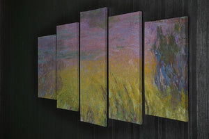 Water Lillies 12 by Monet 5 Split Panel Canvas - Canvas Art Rocks - 2
