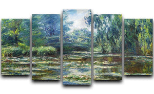 Water Lillies in Monets Garden by Monet 5 Split Panel Canvas  - Canvas Art Rocks - 1