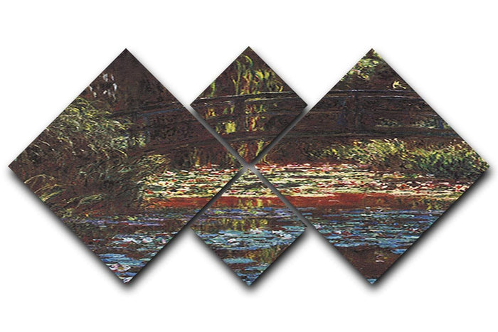 Water Lily Pond 1 by Monet 4 Square Multi Panel Canvas