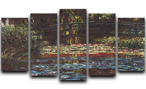 Water Lily Pond 1 by Monet 5 Split Panel Canvas  - Canvas Art Rocks - 1