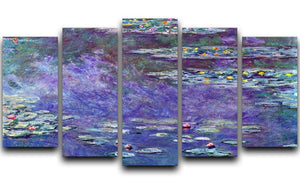 Water Lily Pond 3 by Monet 5 Split Panel Canvas  - Canvas Art Rocks - 1