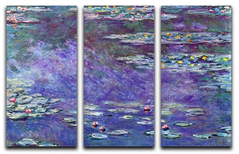 Water Lily Pond 3 by Monet Split Panel Canvas Print - Canvas Art Rocks - 4