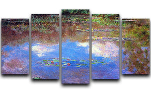 Water Lily Pond 4 by Monet 5 Split Panel Canvas  - Canvas Art Rocks - 1