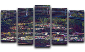Water Lily Pond 5 by Monet 5 Split Panel Canvas  - Canvas Art Rocks - 1