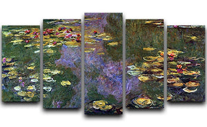 Water Lily Pond Giverny by Monet 5 Split Panel Canvas  - Canvas Art Rocks - 1