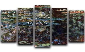Water garden at Giverny by Monet 5 Split Panel Canvas  - Canvas Art Rocks - 1