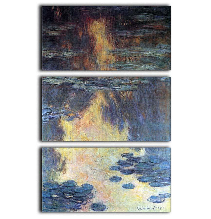 Water lilies water landscape 2 by Monet 3 Split Panel Canvas Print