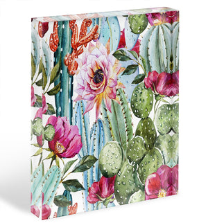 Watercolor cactus pattern Acrylic Block - Canvas Art Rocks - 1