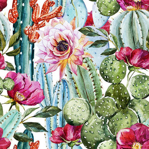 Watercolor cactus pattern Wall Mural Wallpaper - Canvas Art Rocks - 1