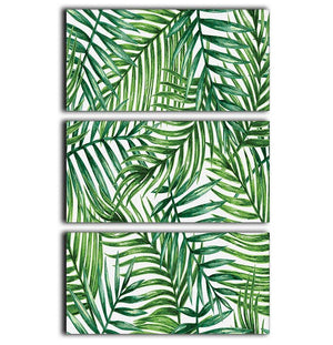 Watercolor tropical palm leaves 3 Split Panel Canvas Print - Canvas Art Rocks - 1