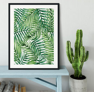 Watercolor tropical palm leaves Framed Print - Canvas Art Rocks - 1