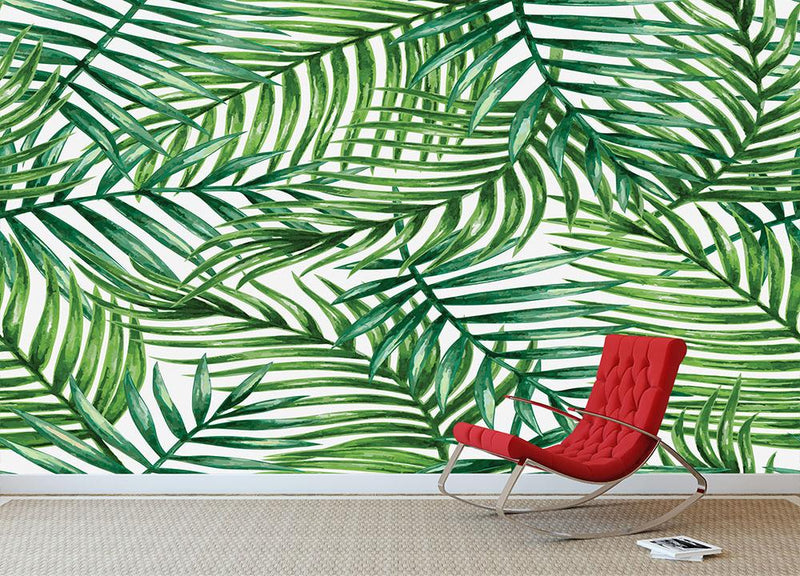 Watercolor tropical palm leaves Wall Mural Wallpaper - Canvas Art Rocks - 2