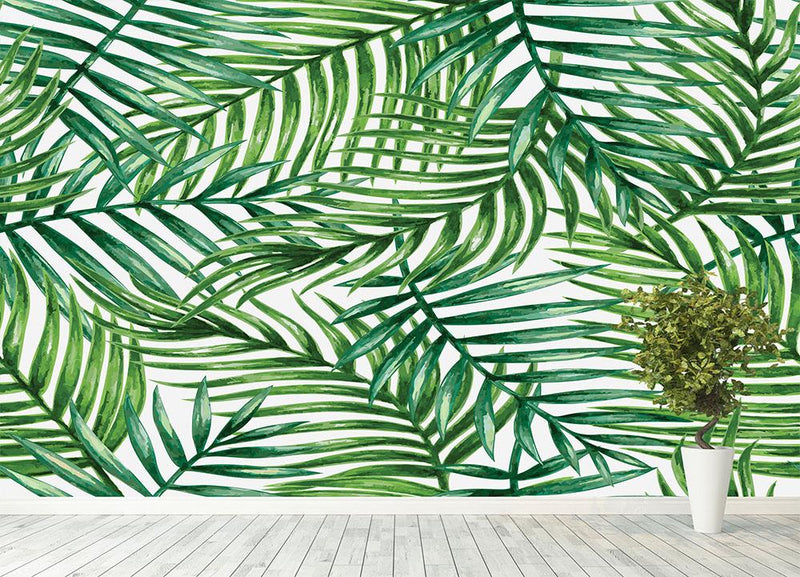 Watercolor tropical palm leaves Wall Mural Wallpaper - Canvas Art Rocks - 4