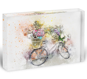 Watercolour Bike Acrylic Block - Canvas Art Rocks - 1
