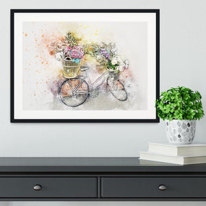 Watercolour Bike Framed Print - Canvas Art Rocks - 1