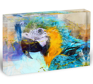 Watercolour Parrot Close Up Acrylic Block - Canvas Art Rocks - 1