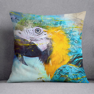 Watercolour Parrot Close Up Cushion