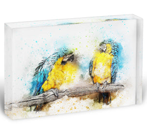 Watercolour Parrots Acrylic Block - Canvas Art Rocks - 1