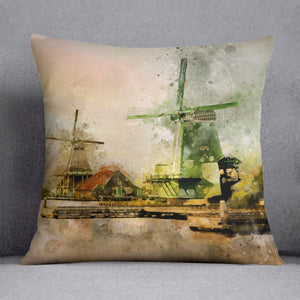 Watercolour Wind Mills Cushion