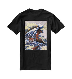 Waterfall and horse washing by Hokusai T-Shirt - Canvas Art Rocks - 1