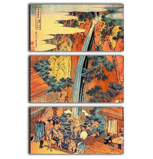 Waterfalls in all provinces 2 by Hokusai 3 Split Panel Canvas Print - Canvas Art Rocks - 1