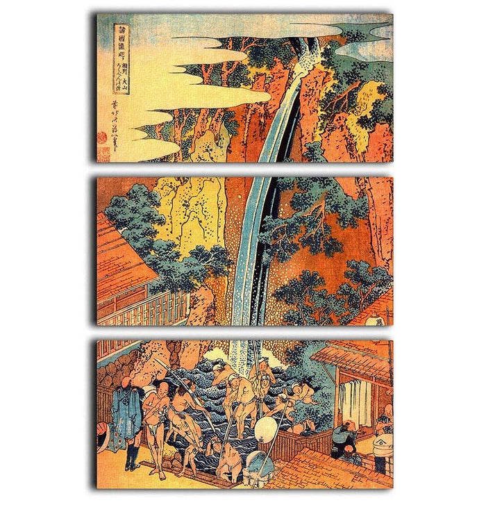 Waterfalls in all provinces 2 by Hokusai 3 Split Panel Canvas Print