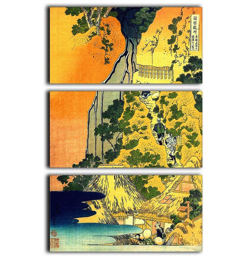 Waterfalls in all provinces by Hokusai 3 Split Panel Canvas Print - Canvas Art Rocks - 1