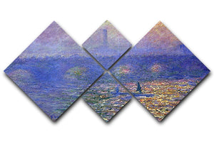 Waterloo Bridge by Monet 4 Square Multi Panel Canvas  - Canvas Art Rocks - 1
