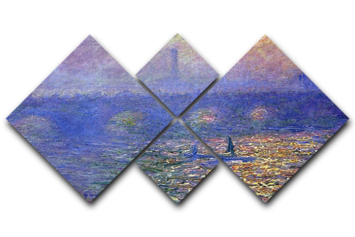 Waterloo Bridge by Monet 4 Square Multi Panel Canvas